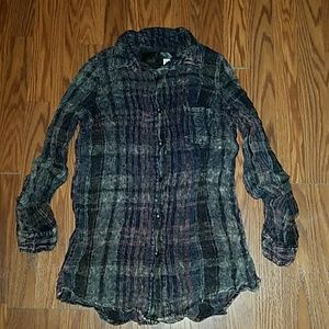 The Nu Vintage Distressed Bleached Flannel NWT